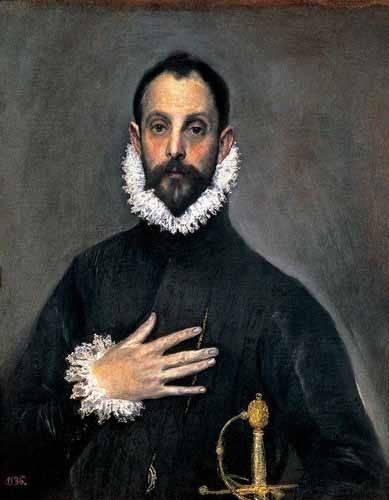 tableaux-de-personnages - Tableau -El caballero de la mano en el pecho(1577-84)- - Greco, El (D. Theotocopoulos)