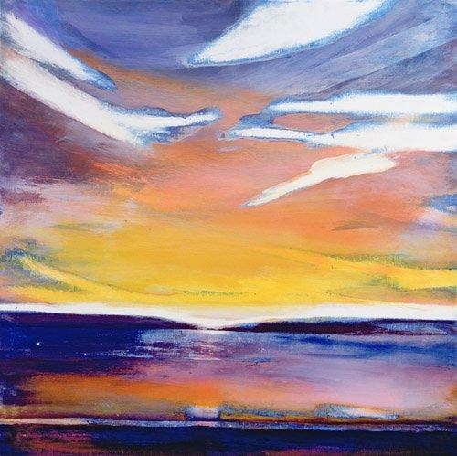 tableaux-abstraits - Tableau -Evening Seascape (mixed media)- - Gibbs, Lou