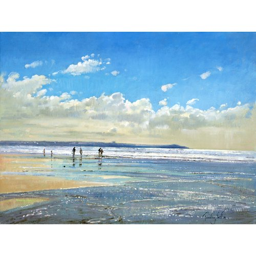 Tableau - Paddling at the Edge (oil on canvas) -