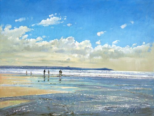 tableaux-de-paysages-marins - Tableau - Paddling at the Edge (oil on canvas) - - Easton, Timothy