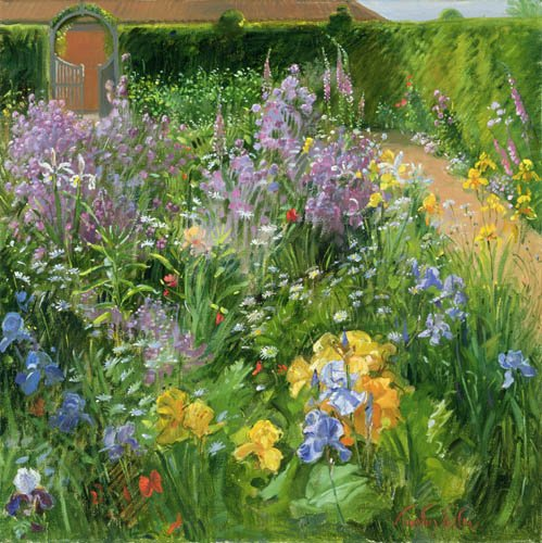 tableaux-pour-salon - Tableau - Sweet Rocket, Foxgloves and Irises, 2000 - - Easton, Timothy