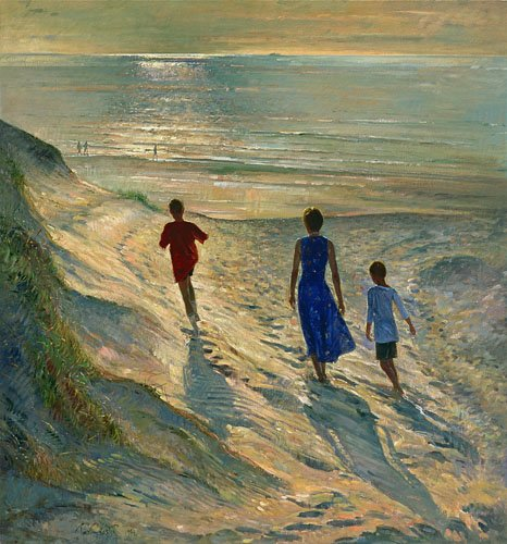 tableaux-de-paysages-marins - Tableau - Beach Walk, 1994 - - Easton, Timothy