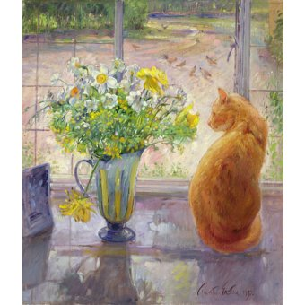 Tableaux nature morte - Tableau - Striped Jug With Spring Flowers, 1992 - - Easton, Timothy