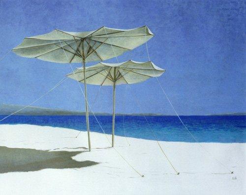 tableaux-de-paysages-marins - Tableau - Umbrellas, Greece, 1995 - - Seligman, Lincoln