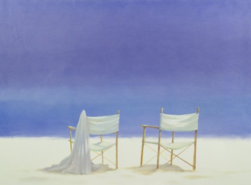 tableaux-de-paysages-marins - Tableau - Chairs on the beach, 1995 - - Seligman, Lincoln