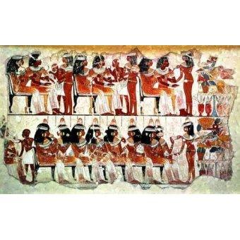 Tableaux orientales - Tableau -Fresco en Thebes,- Banquete -- - _Anónimo Egipcio