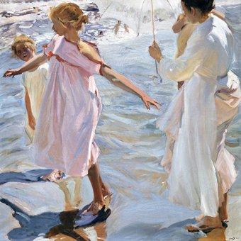 Tableaux de paysages marins - Tableau -Temps pour un bain, Valencia - - Sorolla, Joaquin
