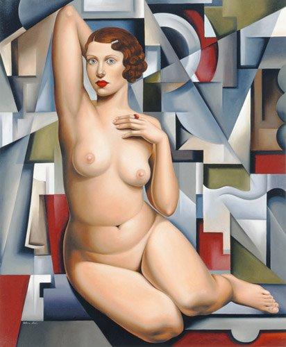 tableaux-de-personnages - Tableau -Seated Cubist Nude (oil on canvas)- - Abel, Catherine