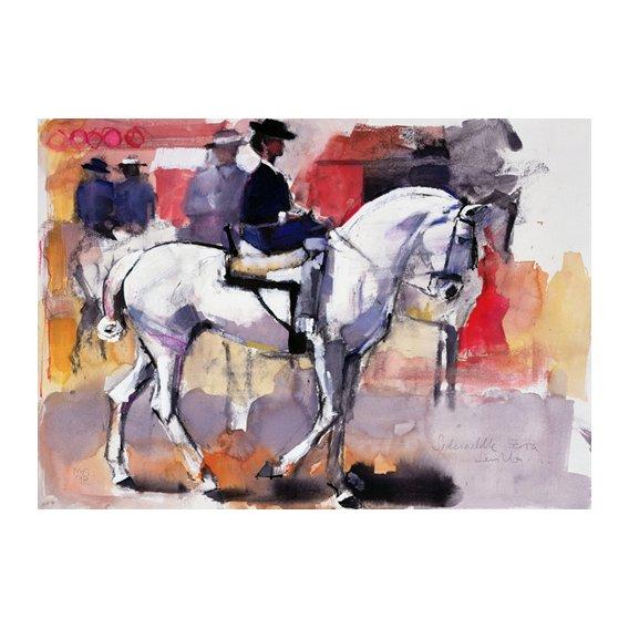 Tableau -Side-saddle at the Feria de Sevilla, 1998 (mixed media on paper)-