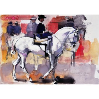 Tableaux de faune - Tableau -Side-saddle at the Feria de Sevilla, 1998 (mixed media on paper)- - Adlington, Mark