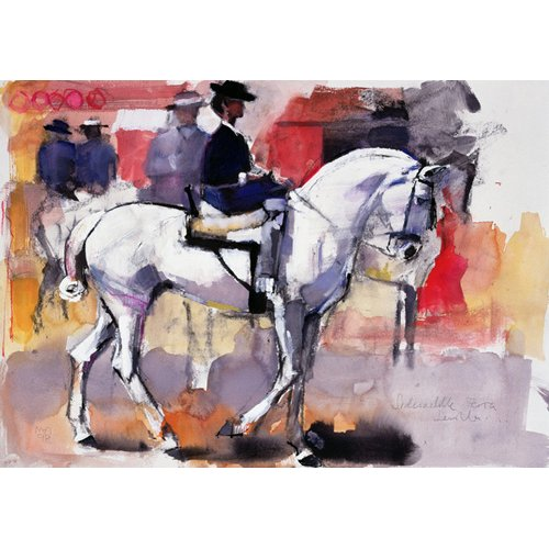 Tableau -Side-saddle at the Feria de Sevilla, 1998 (mixed media on paper)-