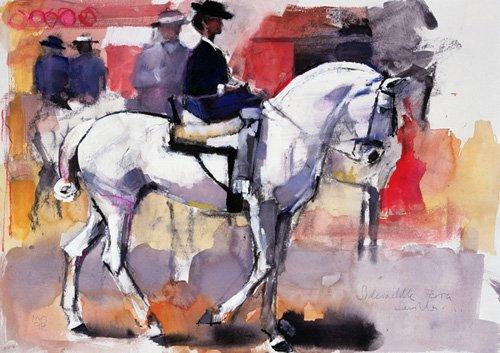 tableaux-pour-salon - Tableau -Side-saddle at the Feria de Sevilla, 1998 (mixed media on paper)- - Adlington, Mark