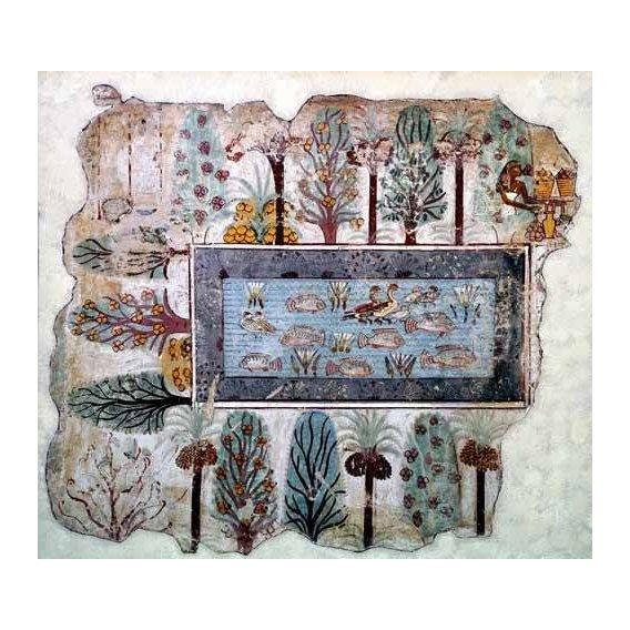 imagens étnicas e leste - Quadro -Fresco en Thebes,- Estanque en un jardin --