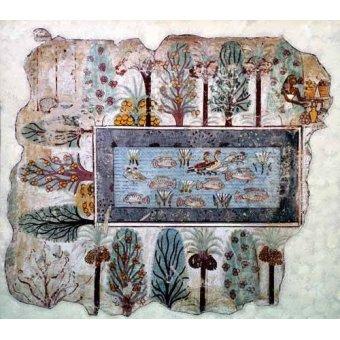 Tableaux orientales - Tableau -Fresco en Thebes,- Estanque en un jardin -- - _Anónimo Egipcio