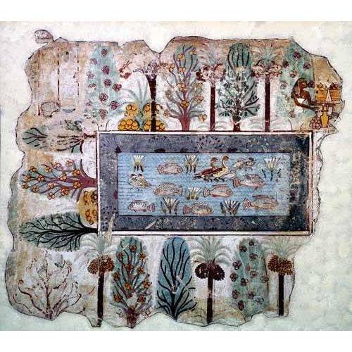 Tableau -Fresco en Thebes,- Estanque en un jardin --