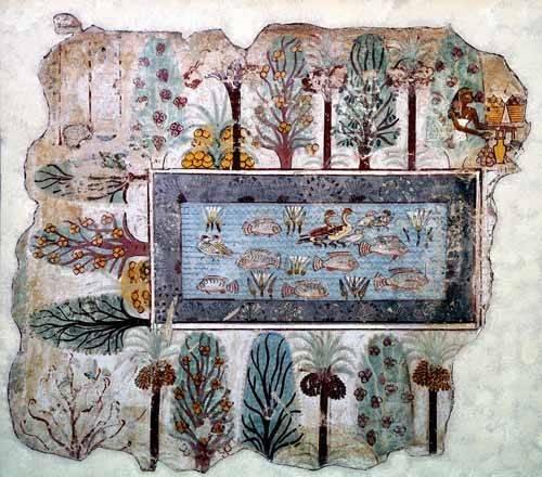 tableaux-orientales - Tableau -Fresco en Thebes,- Estanque en un jardin -- - _Anónimo Egipcio
