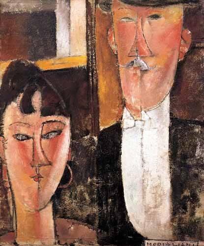 tableaux-de-personnages - Tableau -Pareja de novios- - Modigliani, Amedeo