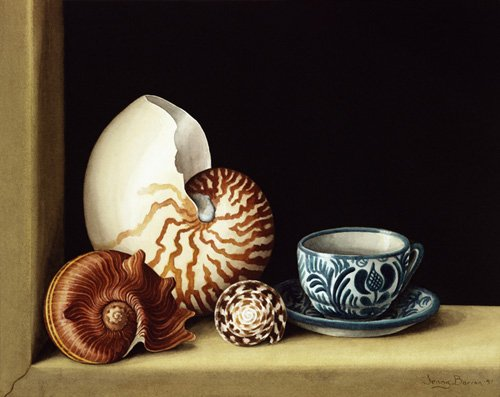 tableaux-nature-morte - Tableau -Still life with Nautilus, 1998 (w.c on paper)- - Barron, Jenny