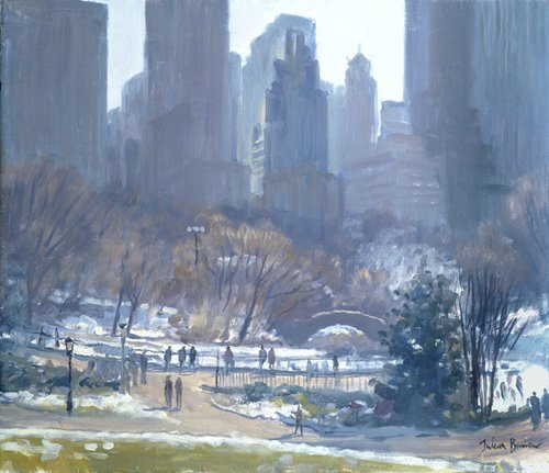 tableaux-modernes - Tableau -Winter in Central Park, New York, 1997 (oil on canvas)- - Barrow, Julian