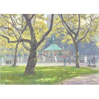 Tableaux de paysages - Tableau -Boat Pond, Central Park (oil on canvas)- - Barrow, Julian