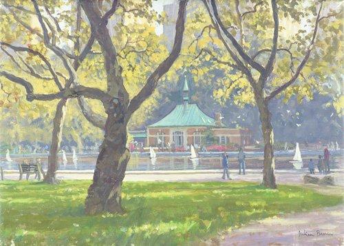 tableaux-modernes - Tableau -Boat Pond, Central Park (oil on canvas)- - Barrow, Julian