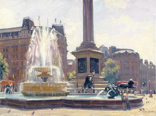 tableaux-modernes - Tableau -Trafalgar Square, London (oil on canvas)- - Barrow, Julian