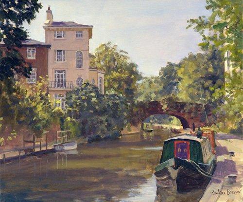tableaux-modernes - Tableau -Regent's Park Canal (oil on canvas)- - Barrow, Julian