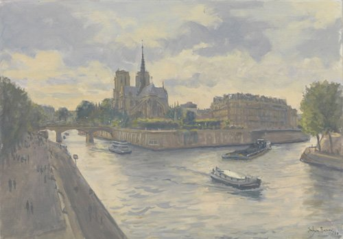 tableaux-modernes - Tableau-Ile de La Cite, 2010 (oil on canvas)- - Barrow, Julian