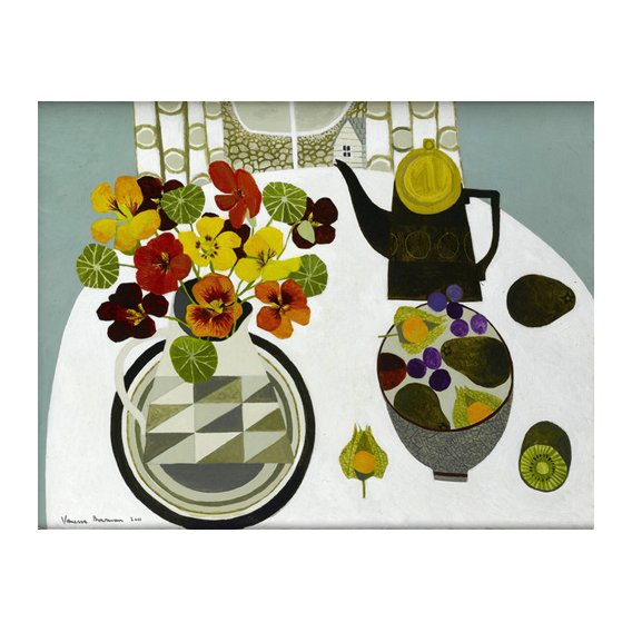 Tableau - Nasturtiums in Geometric Jug -