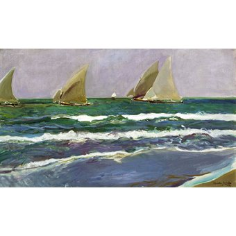 Tableaux de paysages marins - Tableau - Quatre voiliers dans la mer, Valence, 1908 - - Sorolla, Joaquin
