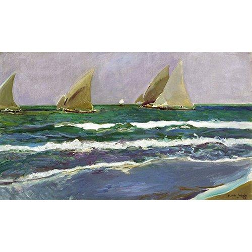 Tableau - Quatre voiliers dans la mer, Valence, 1908 -