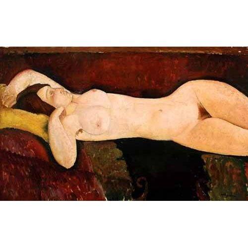 pinturas do retrato - Quadro -Desnudo femenino acostado-