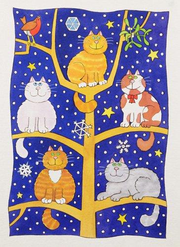 tableaux-pour-enfants - Tableau -Five Christmas Cats- - Baxter, Cathy