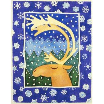 Tableaux pour enfants - Tableau-Reindeer and Snowflakes- - Baxter, Cathy