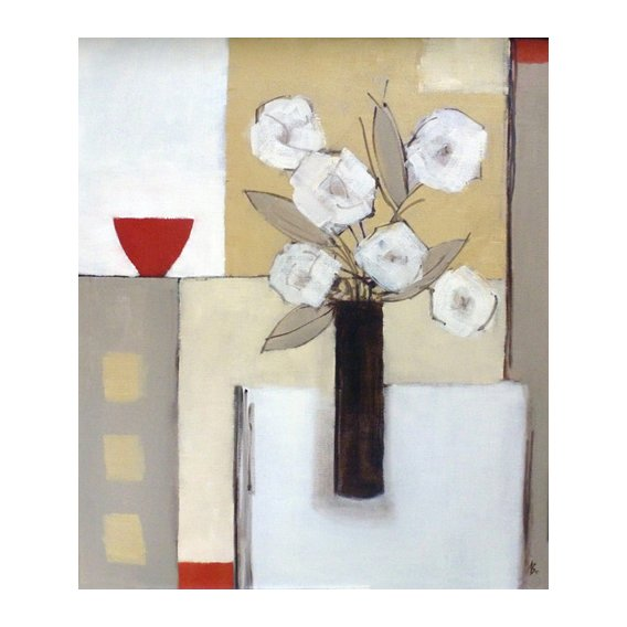 Tableau -Red Bowl, White Flowers-