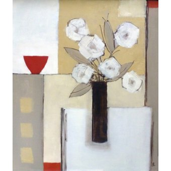Tableaux nature morte - Tableau -Red Bowl, White Flowers- - Bianchi, Ana