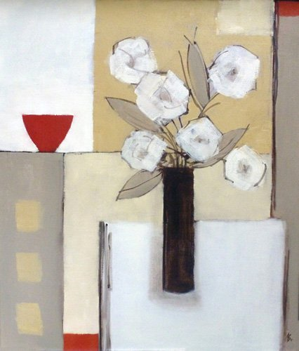 tableaux-modernes - Tableau -Red Bowl, White Flowers- - Bianchi, Ana