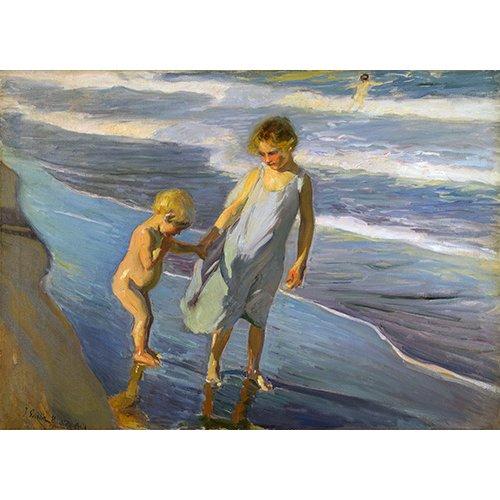 Tableau - Deux enfants sur une plage -