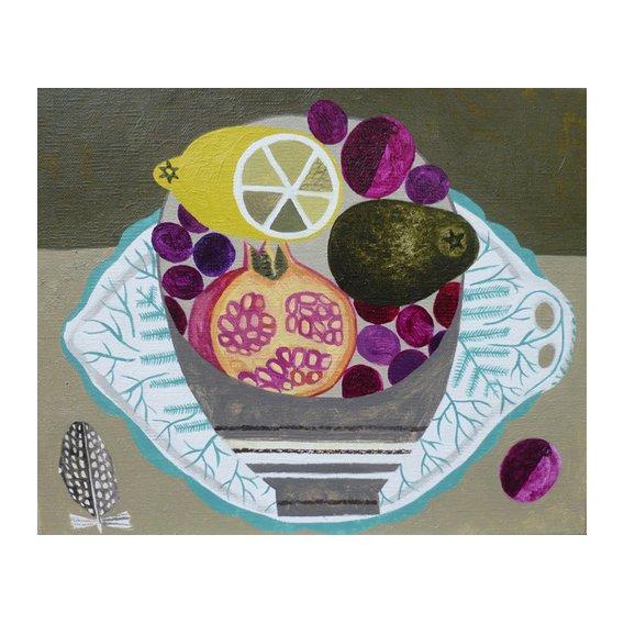 Tableau -Fruitbowl on Fern Plate-