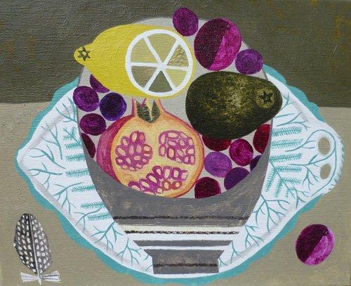 tableaux-modernes - Tableau -Fruitbowl on Fern Plate- - Bowman, Vanessa