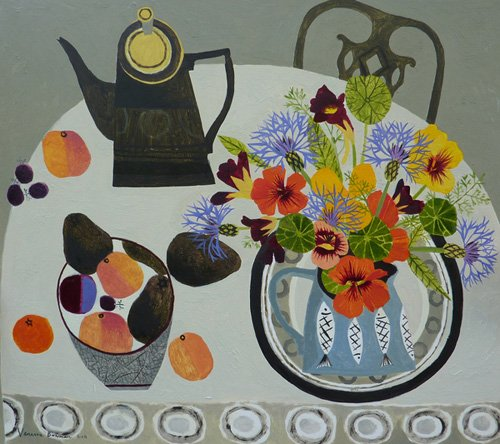 tableaux-modernes - Tableau -Nasturtiums ,Peaches and Avocados- - Bowman, Vanessa