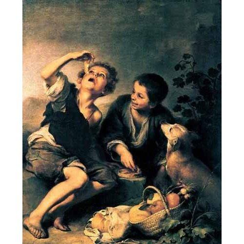 pinturas do retrato - Quadro -Niños comiendo pasteles-
