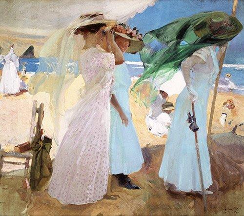 tableaux-de-personnages - Tableau - Sous l'auvent, Zarautz, 1910 - - Sorolla, Joaquin