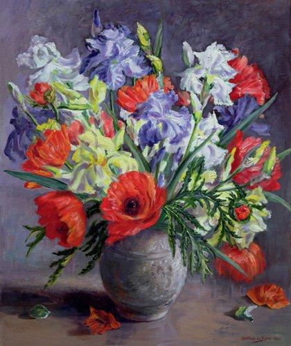 tableaux-de-fleurs - Tableau - Poppies and Irises, 1991 - - Durose, Anthea
