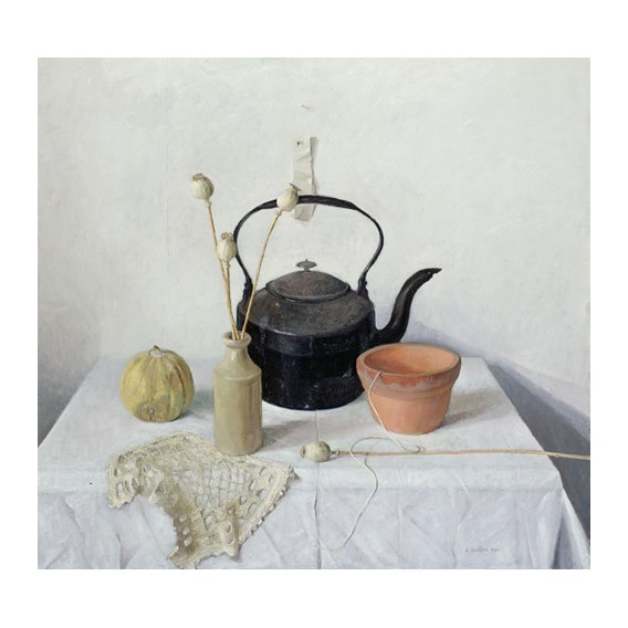 Tableau - Kettle, Poppyheads and Gourd, Still Life, 1990 -