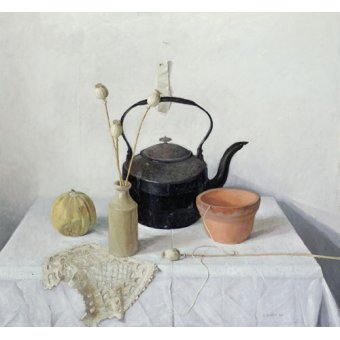 Tableaux nature morte - Tableau - Kettle, Poppyheads and Gourd, Still Life, 1990 - - Easton, Arthur
