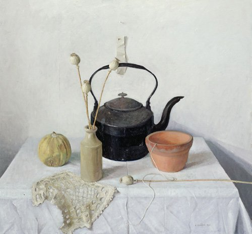 tableaux-nature-morte - Tableau - Kettle, Poppyheads and Gourd, Still Life, 1990 - - Easton, Arthur