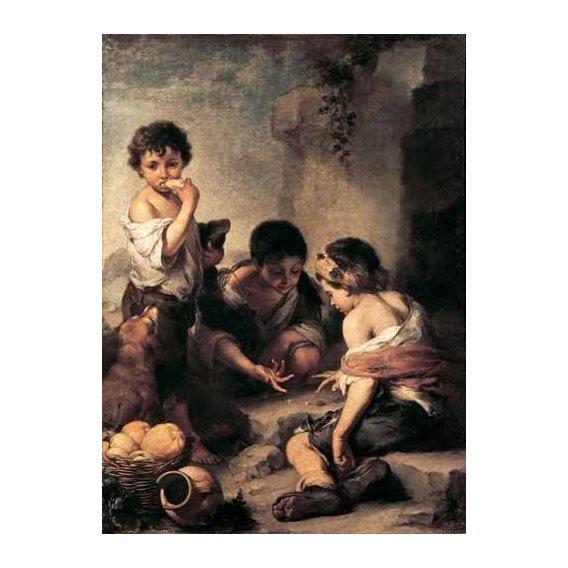 pinturas do retrato - Quadro -Niños jugando a los dados-
