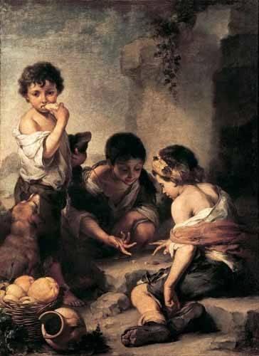 tableaux-de-personnages - Tableau -Niños jugando a los dados- - Murillo, Bartolome Esteban