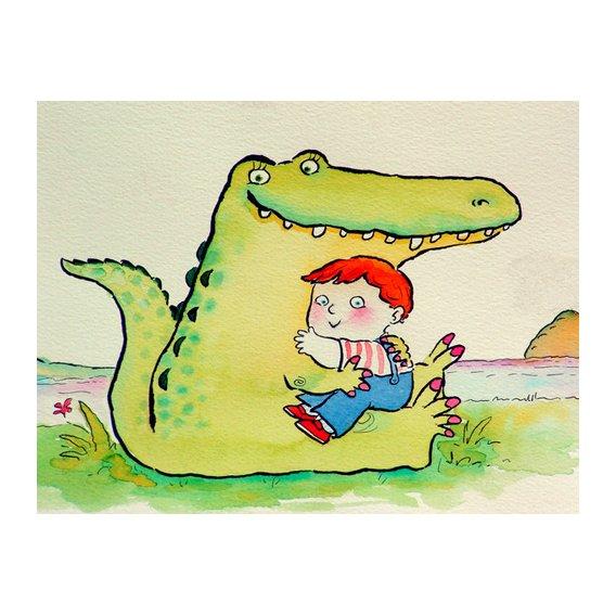 Tableau -Crocodile Hug, or Best Friends (pen & ink and w.c on paper)-